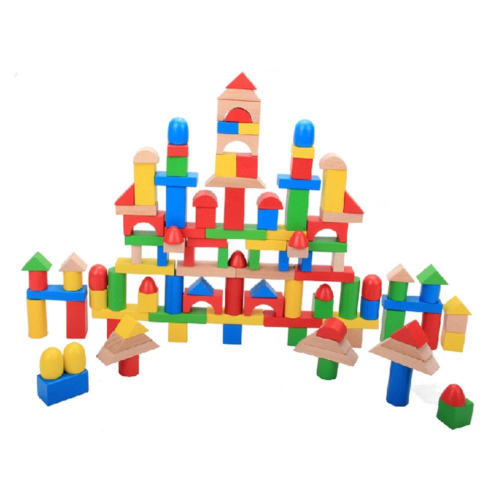 七色花 幼教幼儿园儿童益智积木搭建类玩具木质环保120块积木桶组