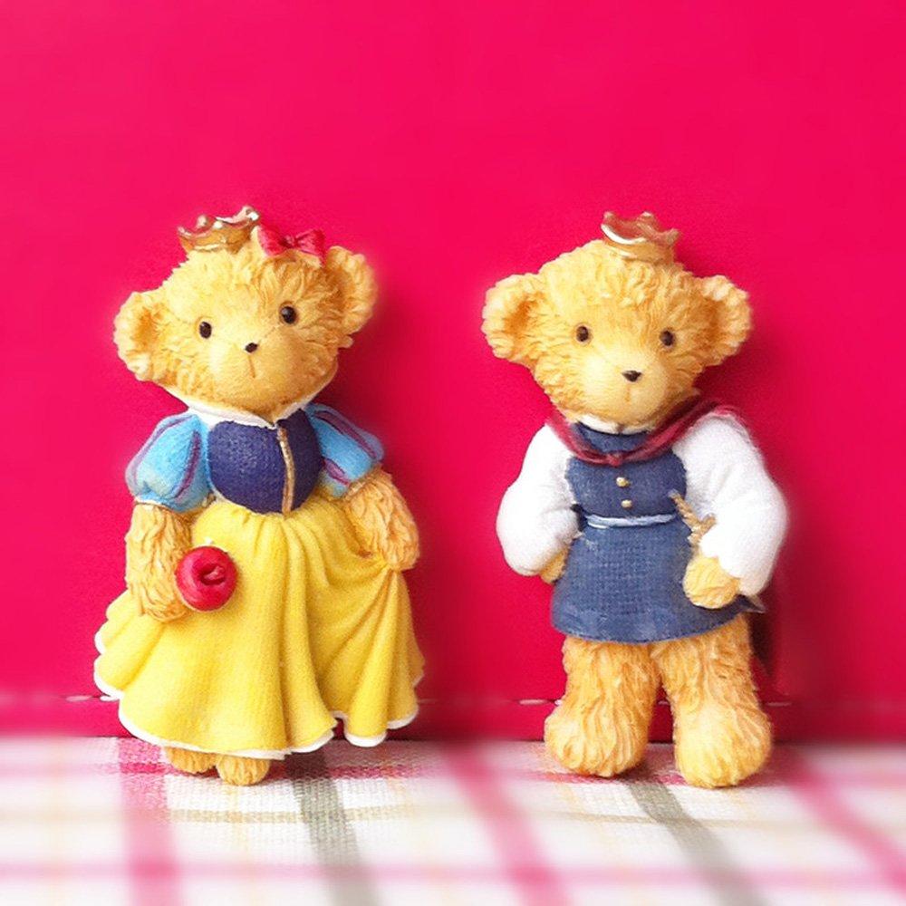 圣托菲 创意泰迪熊情侣 小熊冰箱贴 树脂 磁铁结婚婚庆礼物 公主与