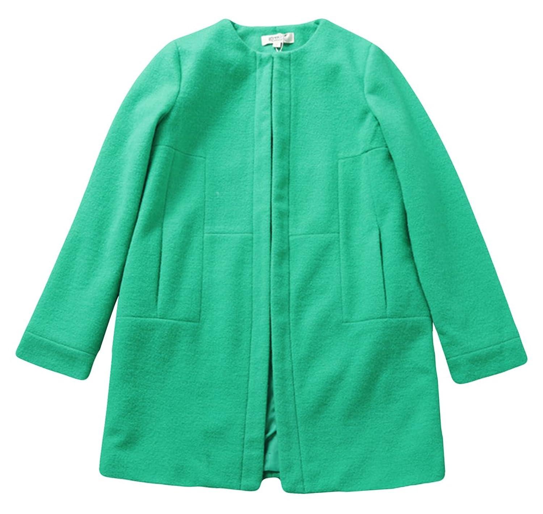 欧美毛呢外套羊绒大衣女款宽松茧型风衣大码秋冬外套hd140833绿色