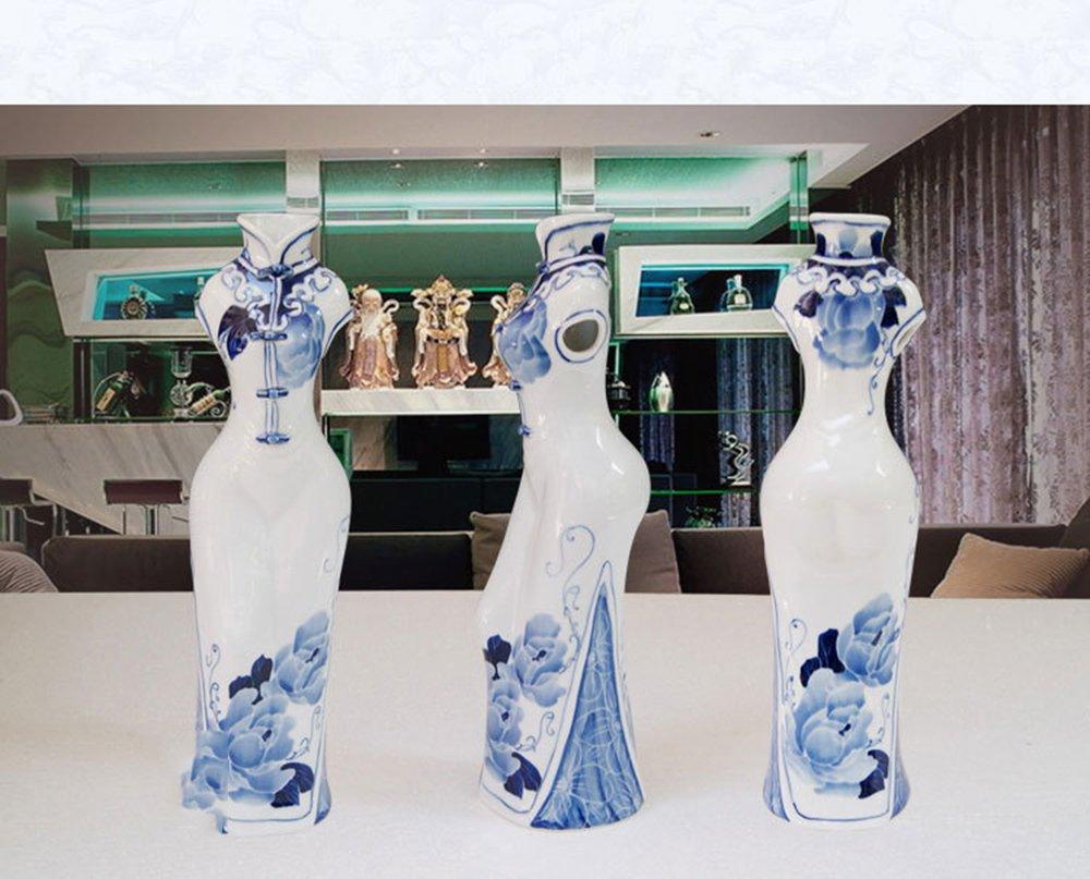 hy 恒焱 景德镇陶瓷器现代时尚旗袍花瓶 创意家居饰品摆件 婚庆 手绘