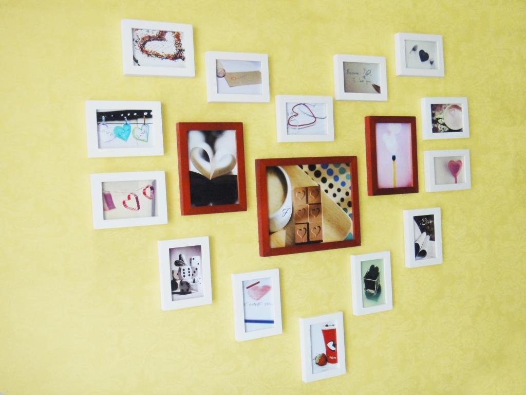 唯家适合放生活照的17框心形照片墙相片墙实木相框墙创意相框组合