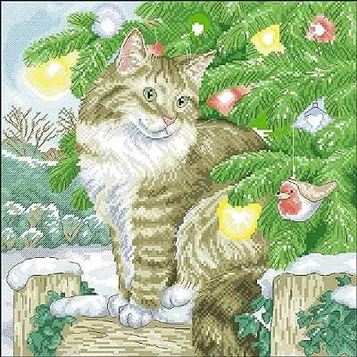 万众家园 十字绣 客厅动物画 圣诞节的猫 11ct dmc线