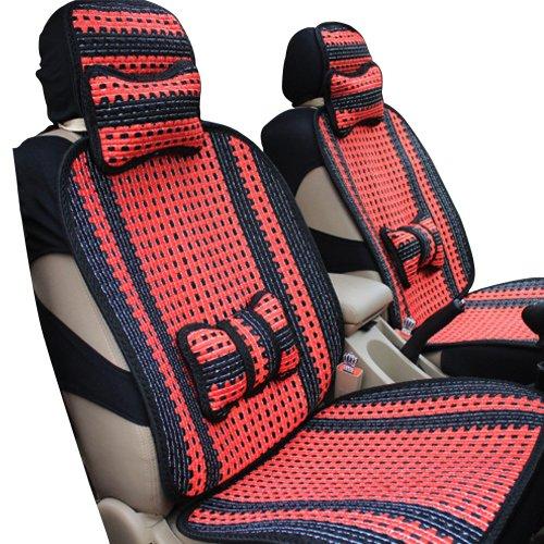 MR.MA马先生汽车坐垫四季新款通用汽车冰丝座垫四季通用 车垫套 汽车用品 (前座加后排(一套), 红色主体)-图片