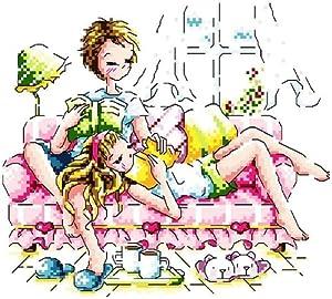 万众家园 十字绣 客厅卧室人物画 卡通 沙发上看书情侣 14ct dmc线 2