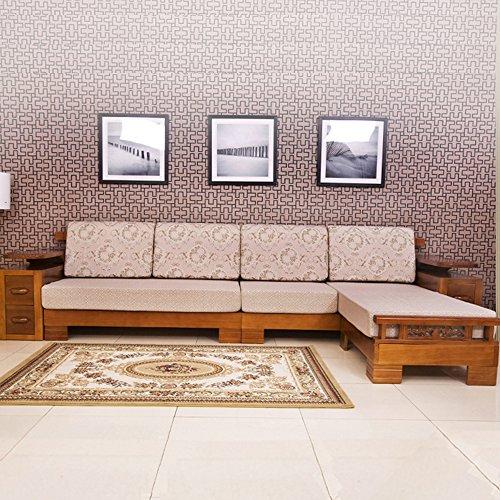 乐家 现代中式松木沙发组合 特价全实木沙发 布艺沙发橡木 客厅家具