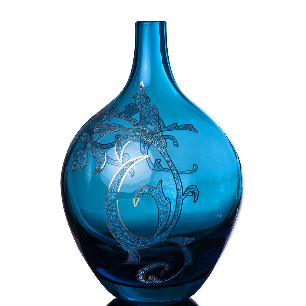 淘当当 复古 地中海风格 希腊艺术爱琴海蓝玻璃瓶 手绘22k金家居饰品