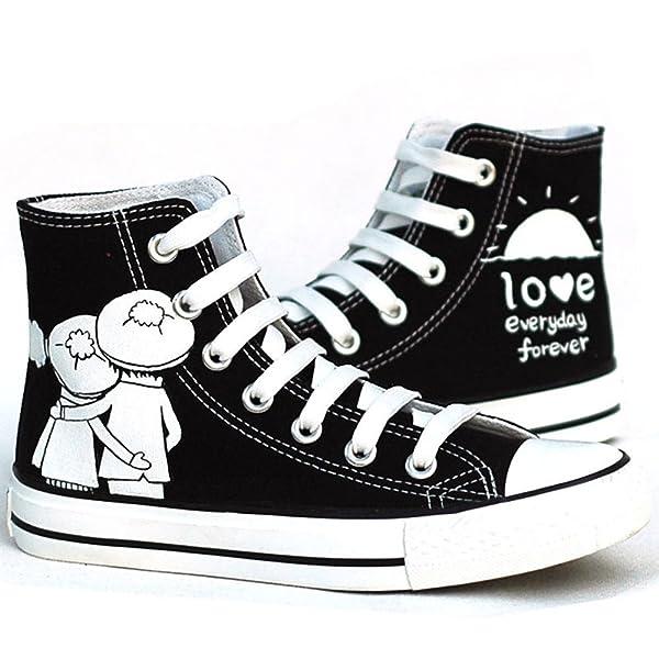 黑色平底高帮手绘鞋