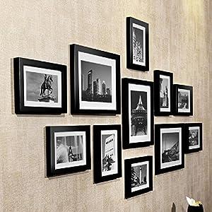 doruik德瑞克实木11框照片墙创意客厅画框组合卧室相框墙挂墙相片墙图片