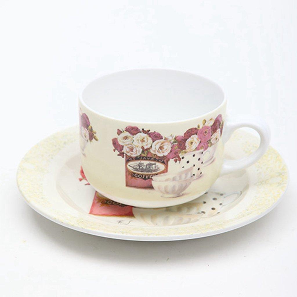 手绘英式下午茶咖啡杯马克杯盘