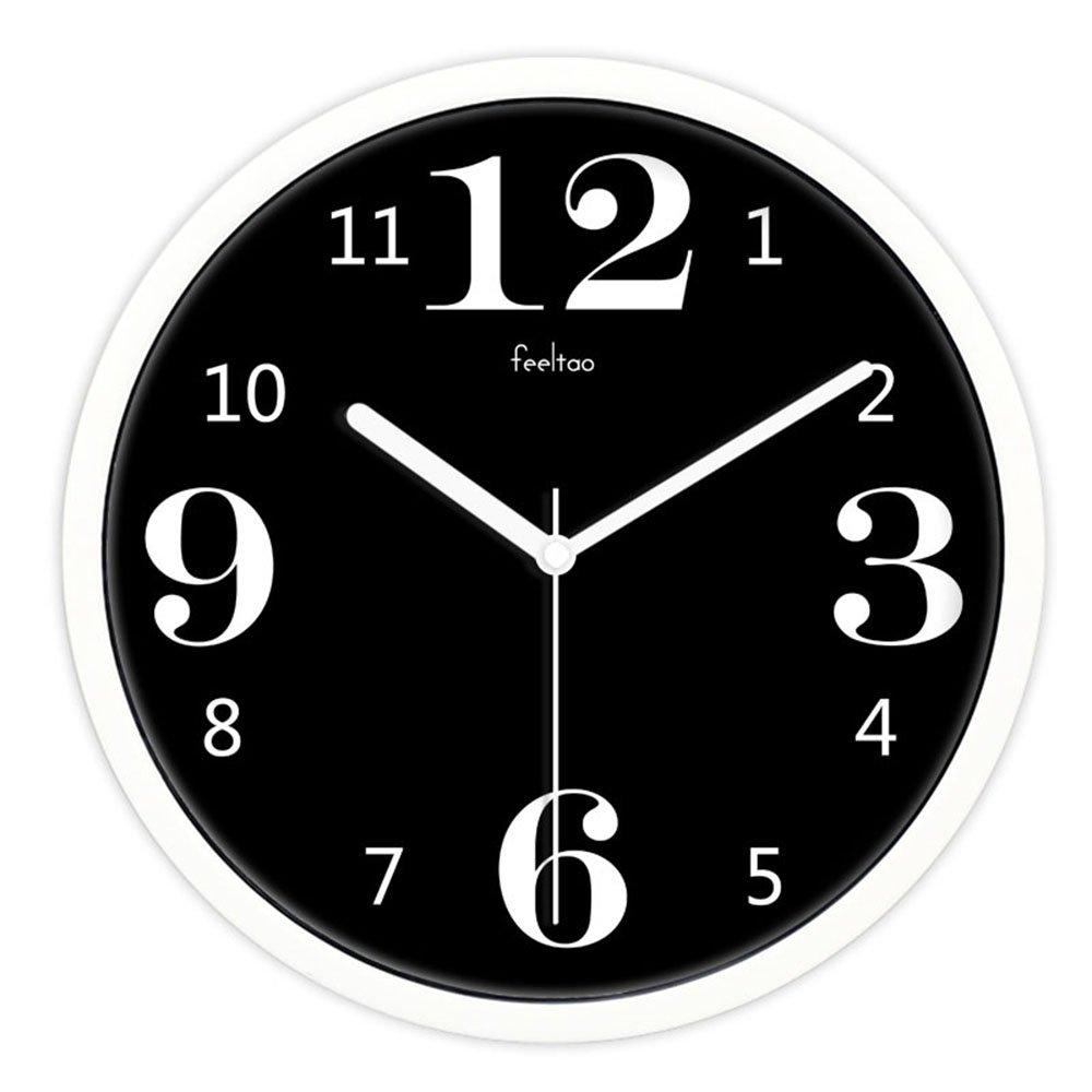 飞淘 正品艺术时尚创意客厅静音挂钟 欧式钟表时钟25 10英寸金属白框