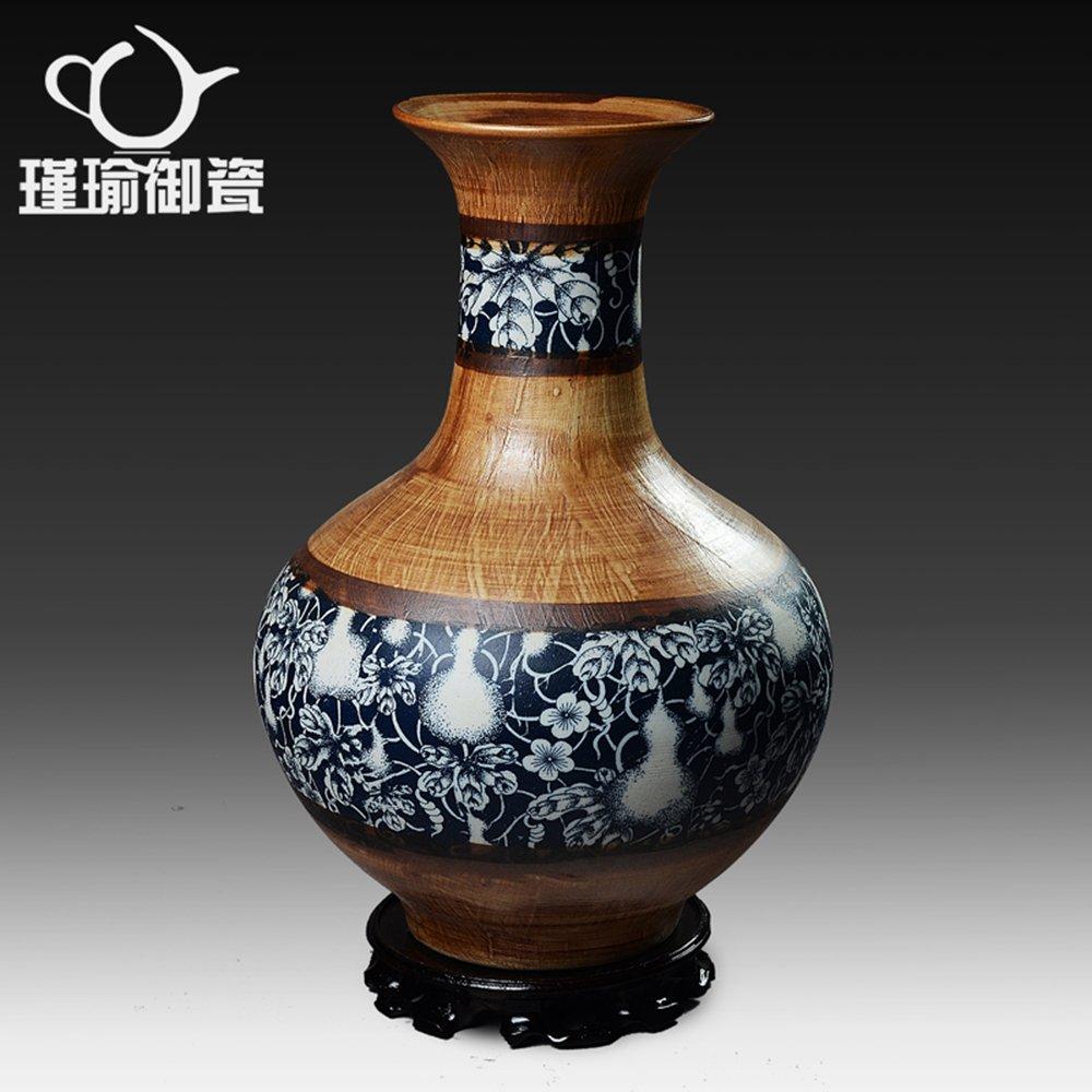 瑾瑜御瓷 景德镇陶瓷器粗陶青花花瓶摆件书房花瓶 时尚家饰工艺品