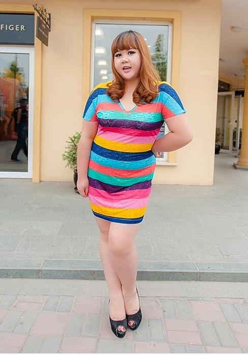 best lisa 我的老婆是胖妞 欧美范大码女装彩色条纹镂空短袖夏装