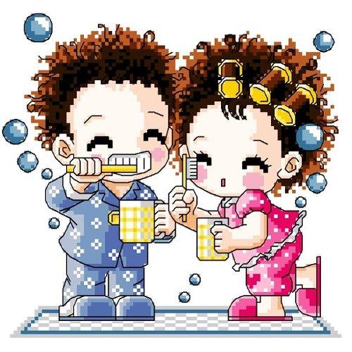 万众家园 十字绣 客厅卧室人物画 可爱卡通 我爱刷牙