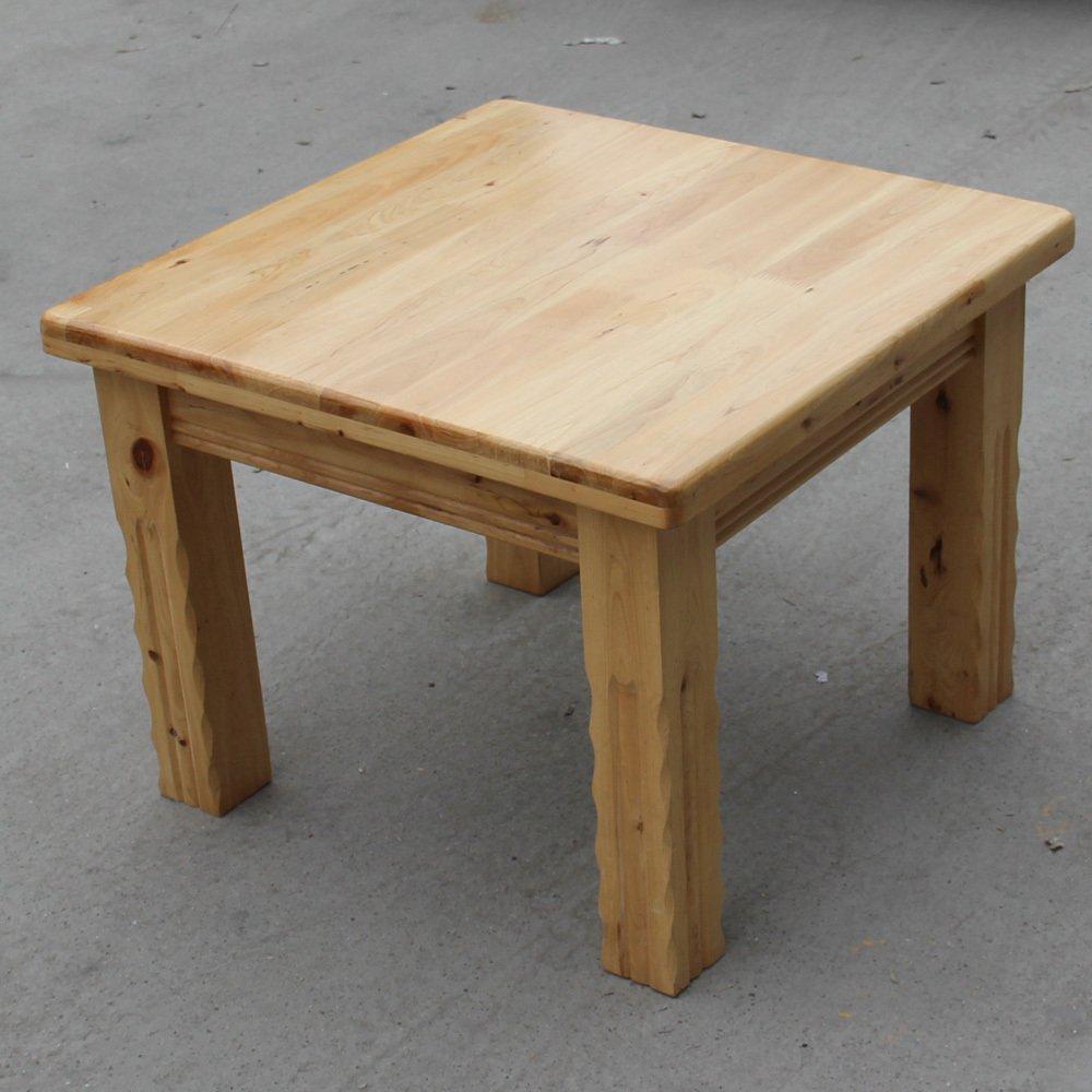益琳柏木本色正方形单层实木茶几可定做宜家