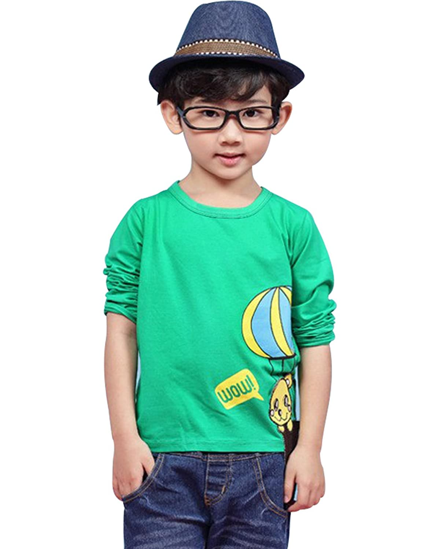哆其布 中小男童上衣 热气球t 童t恤 (100, 绿色)