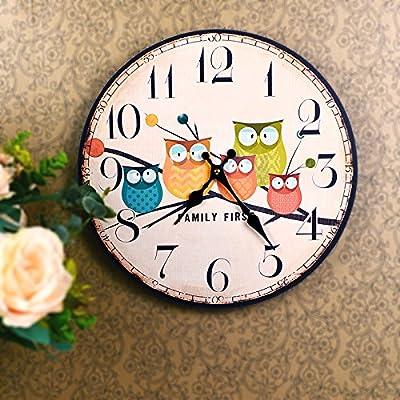 fairy house 猫头鹰一家 原木装饰画挂钟表 出口欧美图片