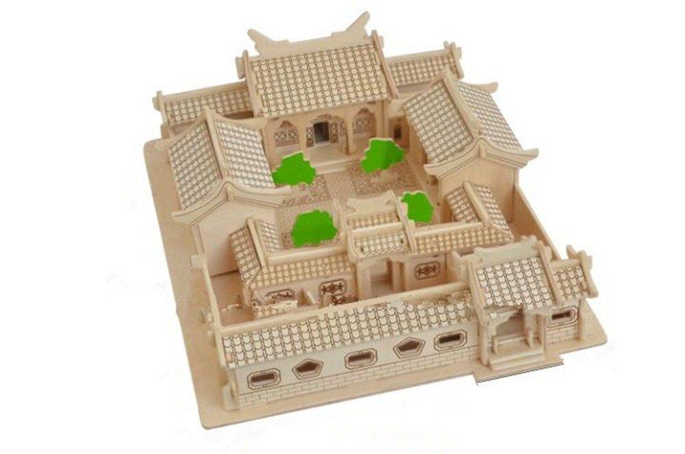 亿欧泰 3d立体拼图 木制仿真模型 建筑模型 - 北京四合院