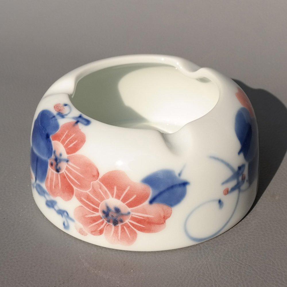御豪 景德镇陶瓷手绘蔷薇蓝牡丹时尚烟灰缸同学生日礼物 a红蔷薇