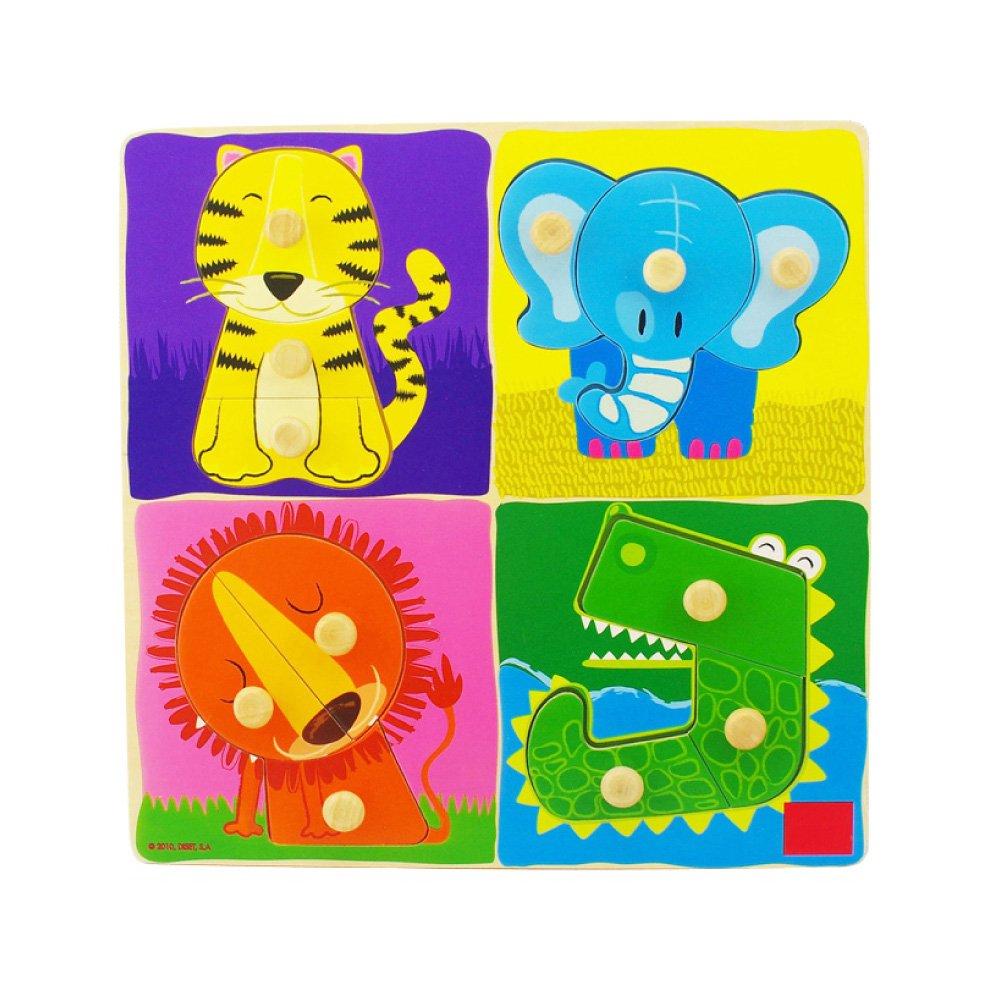 七色花 幼教儿童拼图动物拼板大抓手拼图益智启蒙幼儿