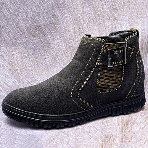 Gog 高哥 棉鞋隐形内增高棉鞋男鞋高帮冬季保暖舒适加厚套脚短靴增高鞋