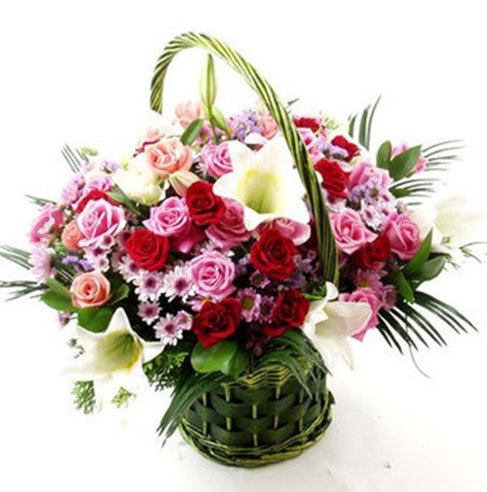 中雅芳菲fragrance鲜花速递 36枝玫瑰花白百合 手提花篮 爱的礼物