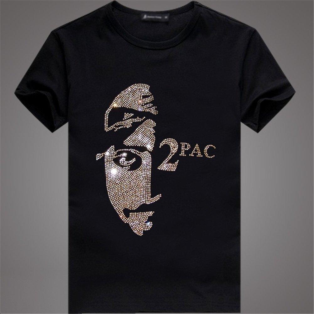 潮牌时尚烫钻2pac脸谱图案t恤