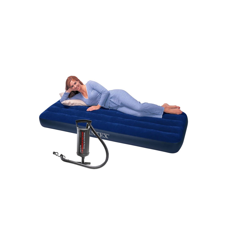 INTEX 绒毛带拉式单人充气床+手泵=¥72,地铺神器,两件85折,三件更低