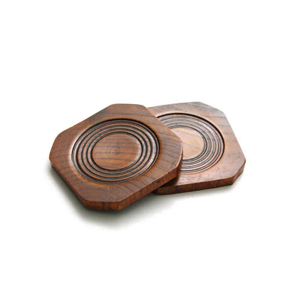 方形实木雕刻木质杯垫