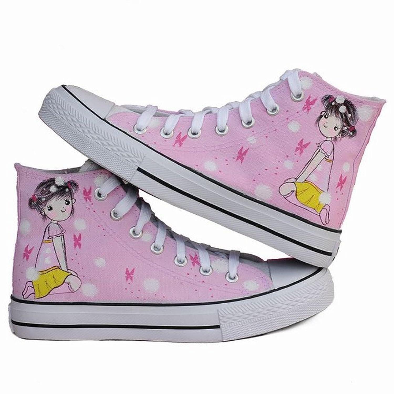 漂亮女生 手绘学生帆布鞋 帆布鞋 z-b1082