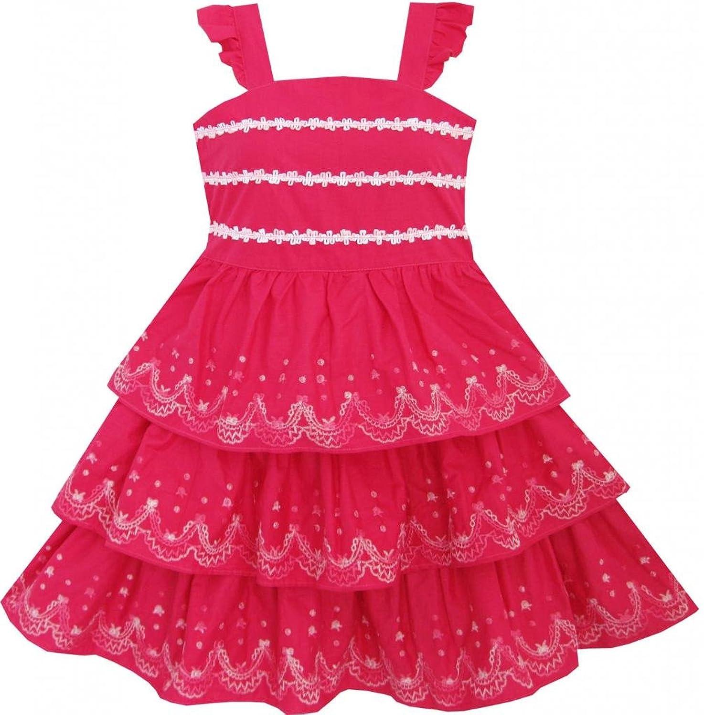 da74 阳光宝贝 女童 连衣裙 童装 夏季 蛋糕裙 塔裙 吊带裙 绣花裙 胖