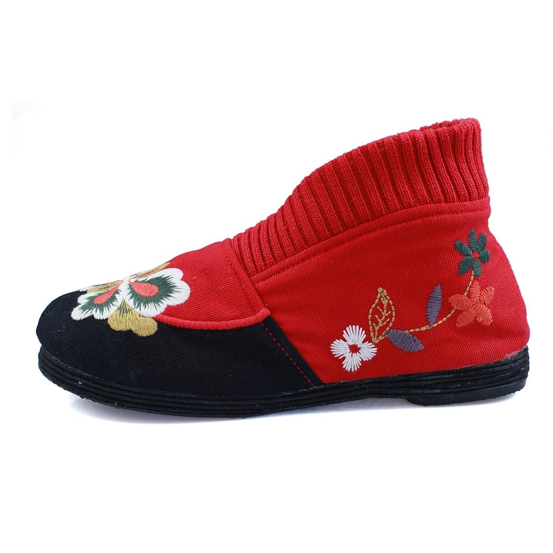 枫树坪 女鞋 老北京布鞋 民族风绣花棉鞋 加棉靴子 千层底女靴w15图片