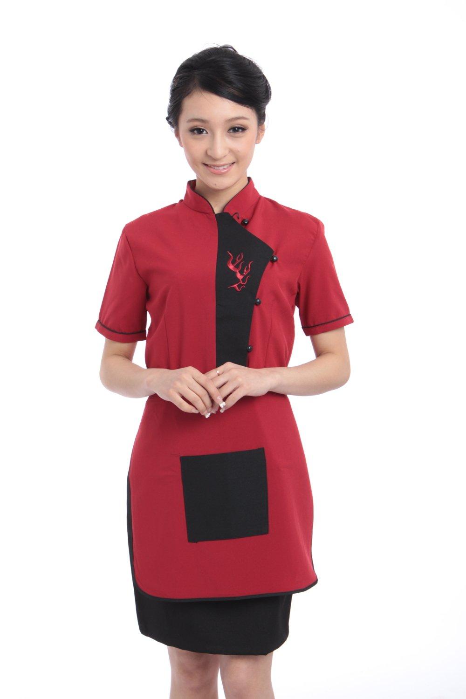金伟乐 酒店工作服夏装 女 短袖 服务员工作服 餐厅服装 酒店制服