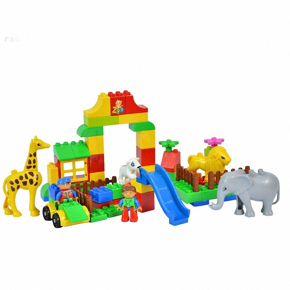 玩具 宝宝益智玩具 启蒙创意儿童积木 88粒拼装乐高式积木 开心动物园