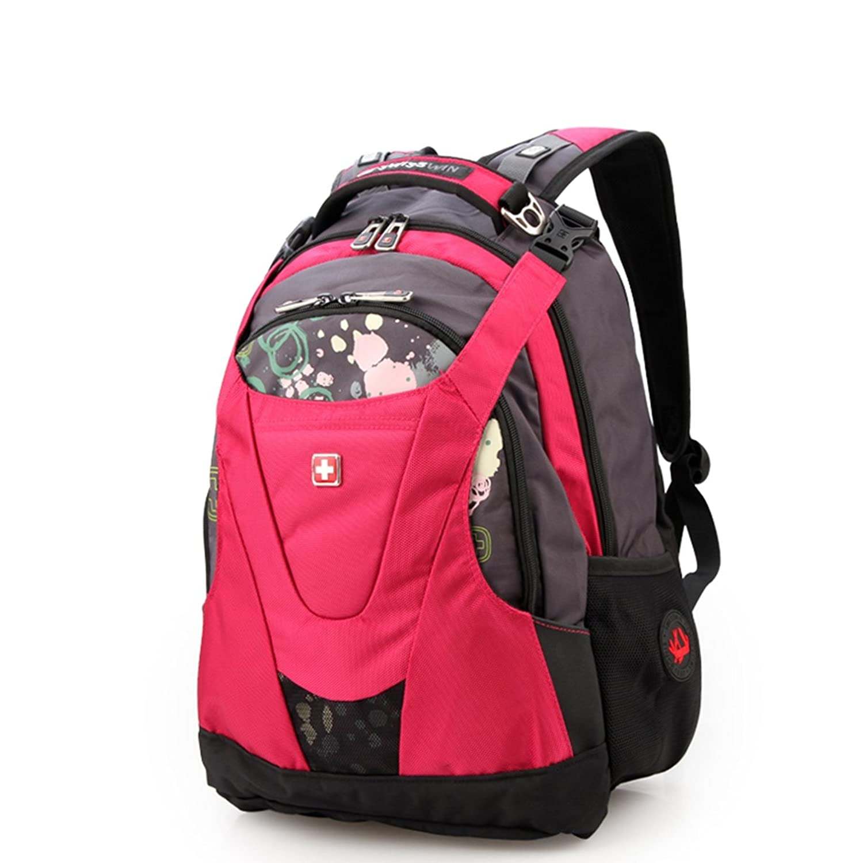 swisswin瑞士军刀双肩电脑旅行背包男女休闲运动学生书包sw8570 (玫瑰图片