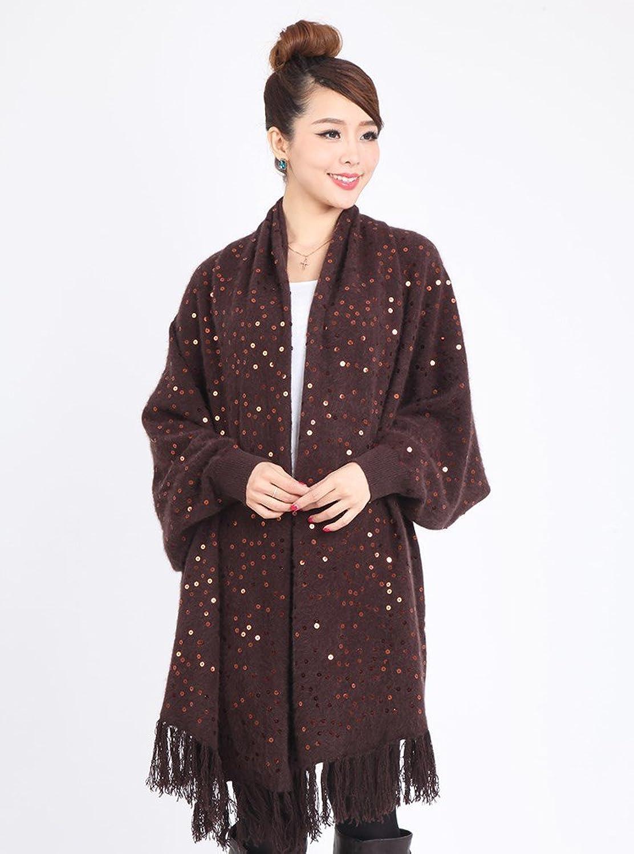 蒙爵 新款针织衫毛衣时尚雪貂绒加厚披肩女装 5085