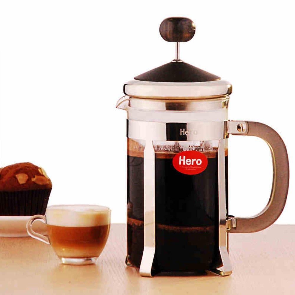 hero 咖啡壶 家用不锈钢 法压壶 玻璃冲茶器 法式滤压