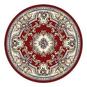 锦川 卢浮宫欧式田园圆形地毯 电脑椅圆茶几 红色蓝色