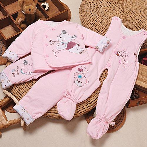 偶园 新生儿棉衣可爱小熊 婴儿纯棉秋装 包脚背带裤夹