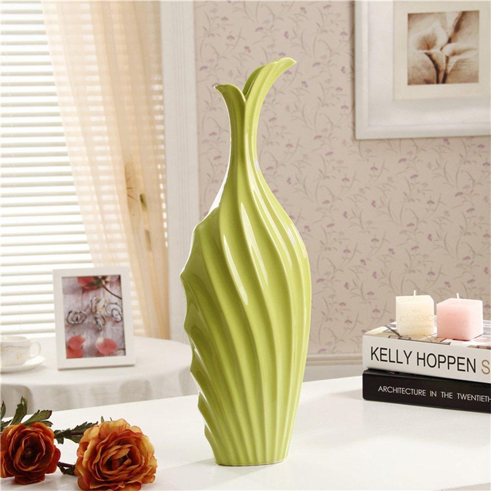 木晖(muhui)创意家居淡绿色陶瓷花瓶摆件 现代简约装饰品可装水两用