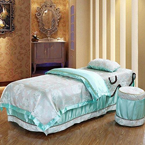 街吻 按摩床床罩贡缎提花四件套欧式美容院套件床罩 清新花芬 75宽