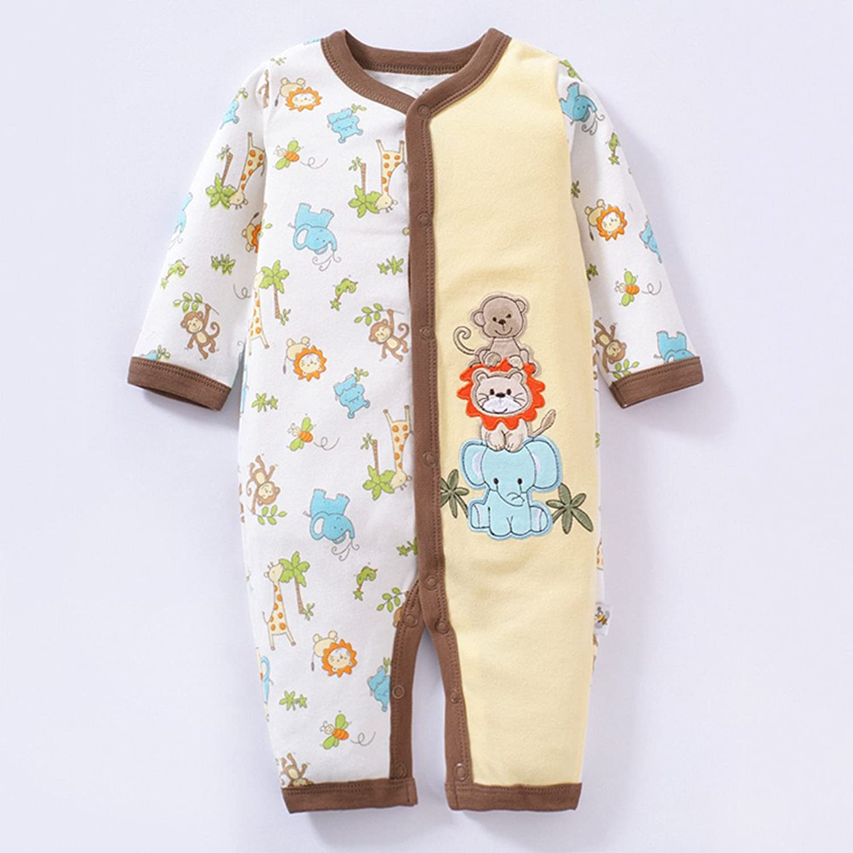 cipango 纯棉 宝宝衣服 婴儿连体衣 新生儿哈衣 男女宝宝卡通条纹内衣
