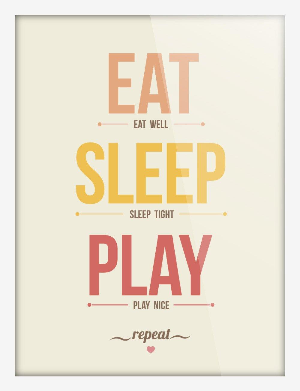 art 轻艺术 图说语录 吃睡玩 a款黄色 北欧英文字母图片儿童房海报图片