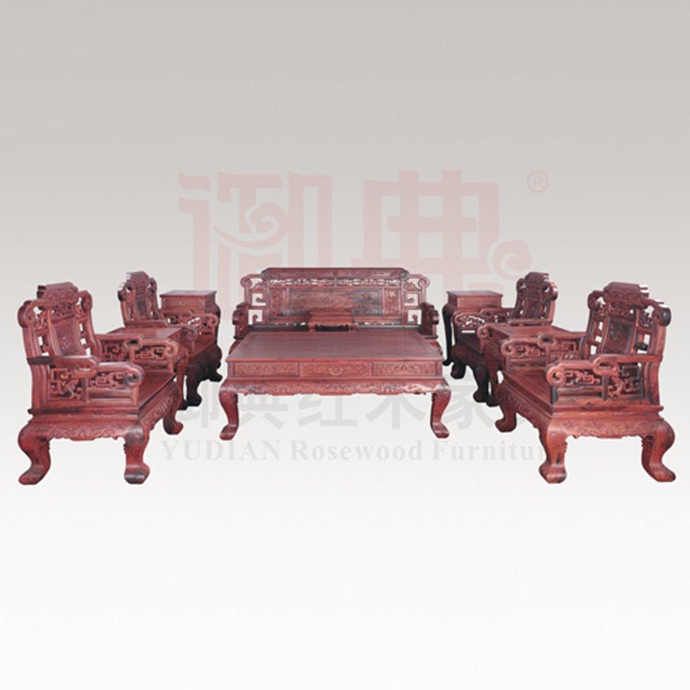 仙游御典红木家具 交趾黄檀福寿沙发十件套 红酸枝仿古沙发 老挝大