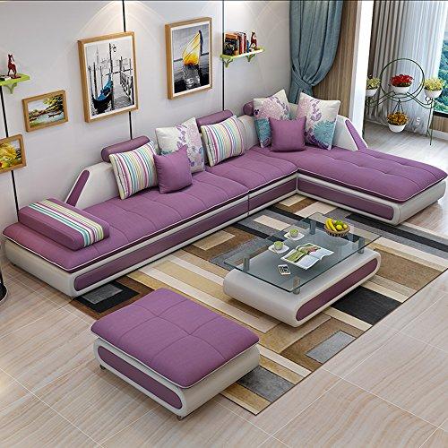 皮布沙发 布艺沙发组合 简约现代款式新颖转角沙发 客厅家具客厅沙发