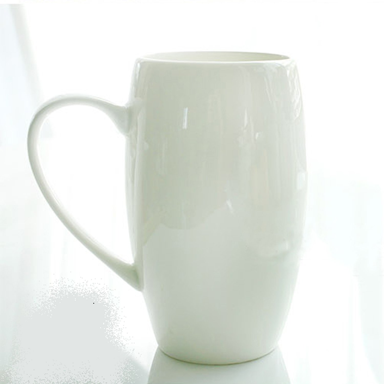 莲之莲 白瓷 唐山骨瓷 无铅 水杯茶杯 奶杯 马克杯早餐杯 (4号打腰鼓