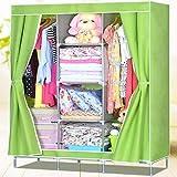 标家 布衣柜 简易衣柜 超大容量 防潮防尘 加厚无纺布 卷帘加固 B609 (果绿)-图片