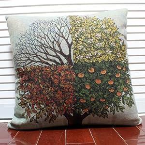 一橙 油画风四季树 春夏秋冬棉麻靠垫靠枕 韩式居家创意生活彩绘抱枕