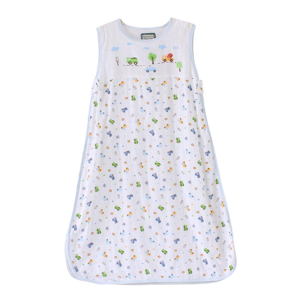 星呗熊 夏季薄款儿童睡袋宝宝纱布背心睡袋婴儿防踢被5118蓝色