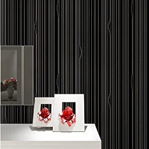 卧室房间个性米黄色无纺布墙纸客厅电视背景墙竖条纹壁纸 (015 黑色)