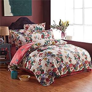 世约家纺 超柔活性纯棉加厚磨毛四件套 ab版春秋冬季全棉保暖被套床单